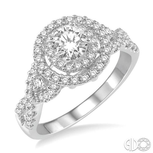 1 1/10 Ctw Diamond Engagement Ring with 1/2 Ct Round Cut Center Diamond in 14K White Gold Becker's Jewelers Burlington, IA