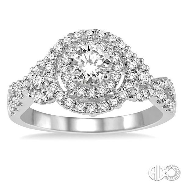 1 1/10 Ctw Diamond Engagement Ring with 1/2 Ct Round Cut Center Diamond in 14K White Gold Image 2 Becker's Jewelers Burlington, IA