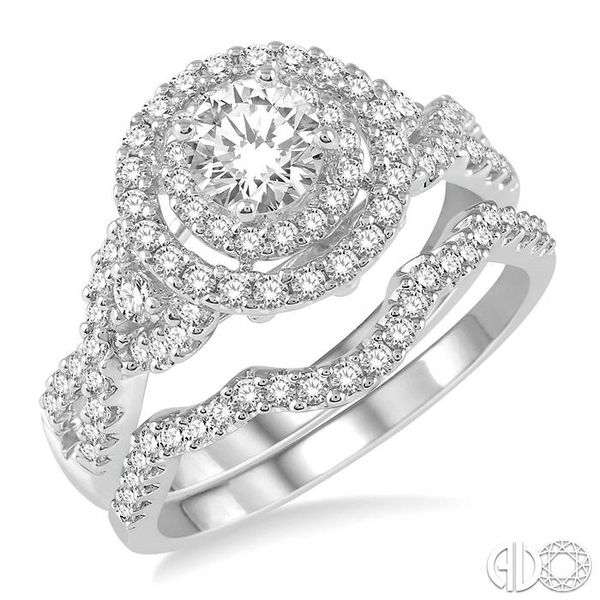 1 1/4 Ctw Diamond Wedding Set with 1 1/10 Ctw Round Cut Engagement Ring and 1/6 Ctw Wedding Band in 14K White Gold Becker's Jewelers Burlington, IA