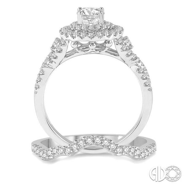 1 1/4 Ctw Diamond Wedding Set with 1 1/10 Ctw Round Cut Engagement Ring and 1/6 Ctw Wedding Band in 14K White Gold Image 3 Becker's Jewelers Burlington, IA