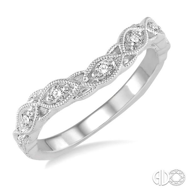 1/6 Ctw Milgrain Leaf Motif Round Cut Diamond Wedding Band in 14K White Gold Becker's Jewelers Burlington, IA
