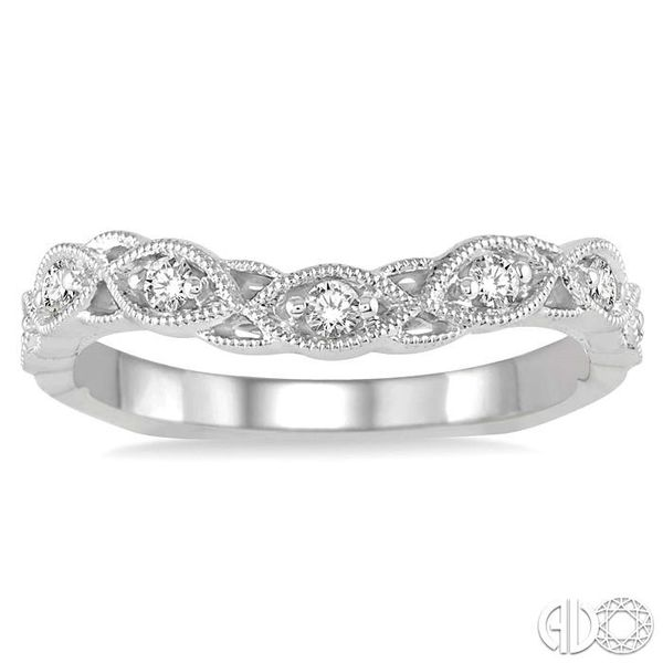 1/6 Ctw Milgrain Leaf Motif Round Cut Diamond Wedding Band in 14K White Gold Image 2 Becker's Jewelers Burlington, IA