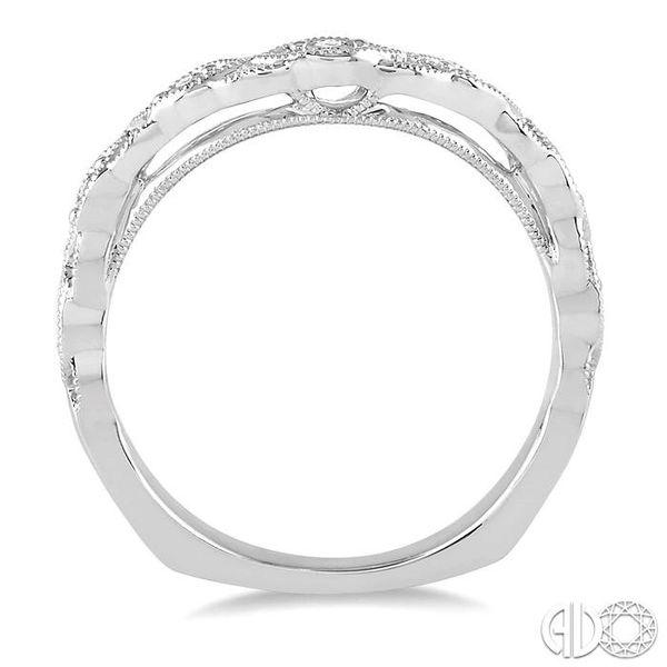 1/6 Ctw Milgrain Leaf Motif Round Cut Diamond Wedding Band in 14K White Gold Image 3 Becker's Jewelers Burlington, IA