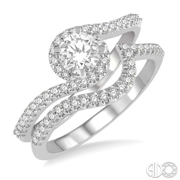5/8 Ctw Diamond Wedding Set With 1/2 Ctw Embraced Round Shape Engagement Ring and 1/6 Ctw Crescent Shape Wedding Band in 14K Whi Becker's Jewelers Burlington, IA
