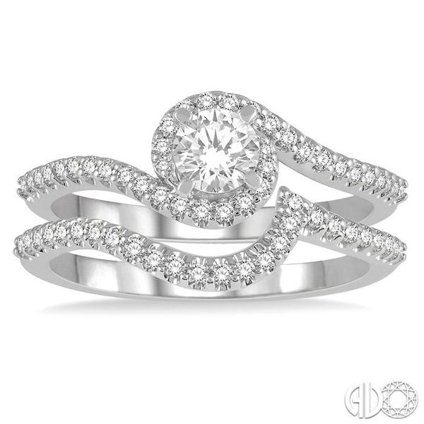 5/8 Ctw Diamond Wedding Set With 1/2 Ctw Embraced Round Shape Engagement Ring and 1/6 Ctw Crescent Shape Wedding Band in 14K Whi Image 2 Becker's Jewelers Burlington, IA