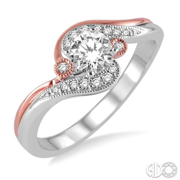 1/4 Ctw Diamond Engagement Ring with 1/6 Ct Round Cut Center Stone in 14K White and Rose Gold Becker's Jewelers Burlington, IA