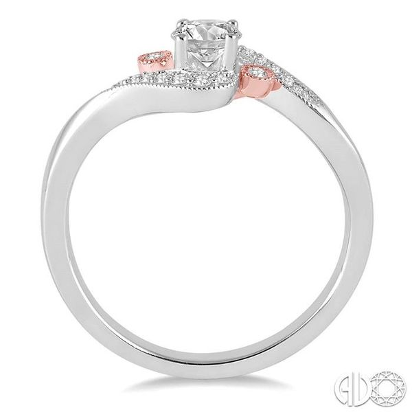 1/4 Ctw Diamond Engagement Ring with 1/6 Ct Round Cut Center Stone in 14K White and Rose Gold Image 3 Becker's Jewelers Burlington, IA