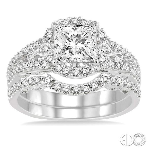 1 1/4 Ctw Diamond Wedding Set with 1 1/10 Ctw Princess Cut Engagement Ring and 1/5 Ctw Wedding Band in 14K White Gold Image 2 Becker's Jewelers Burlington, IA