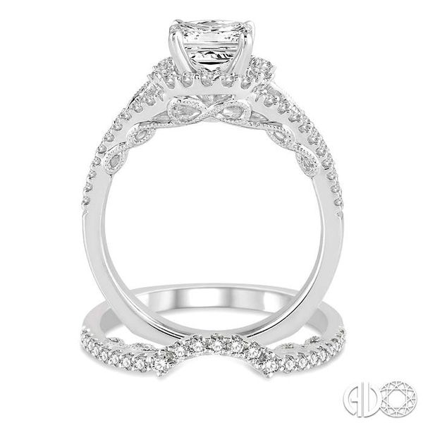 1 1/4 Ctw Diamond Wedding Set with 1 1/10 Ctw Princess Cut Engagement Ring and 1/5 Ctw Wedding Band in 14K White Gold Image 3 Becker's Jewelers Burlington, IA