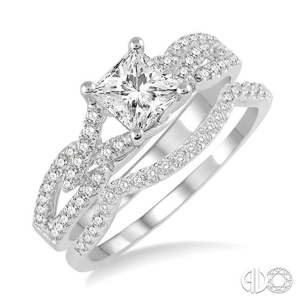 1 1/10 Ctw Diamond Wedding Set with 7/8 Ctw Princess Cut Engagement Ring and 1/6 Ctw Wedding Band in 14K White Gold Becker's Jewelers Burlington, IA