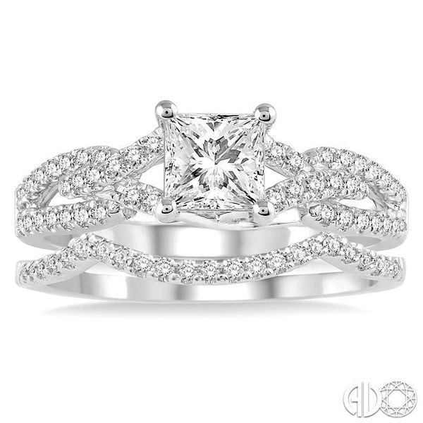 1 1/10 Ctw Diamond Wedding Set with 7/8 Ctw Princess Cut Engagement Ring and 1/6 Ctw Wedding Band in 14K White Gold Image 2 Becker's Jewelers Burlington, IA