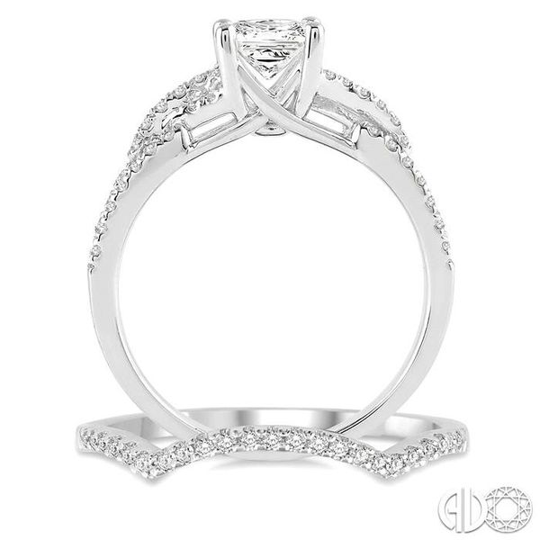 1 1/10 Ctw Diamond Wedding Set with 7/8 Ctw Princess Cut Engagement Ring and 1/6 Ctw Wedding Band in 14K White Gold Image 3 Becker's Jewelers Burlington, IA