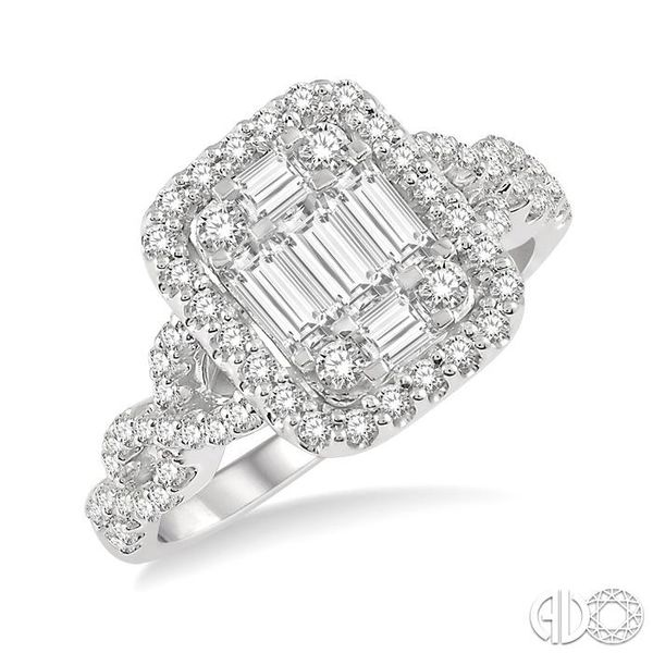 1/2 Ctw Baguette & Round Cut Fusion Diamond Ring in 14K White Gold Becker's Jewelers Burlington, IA
