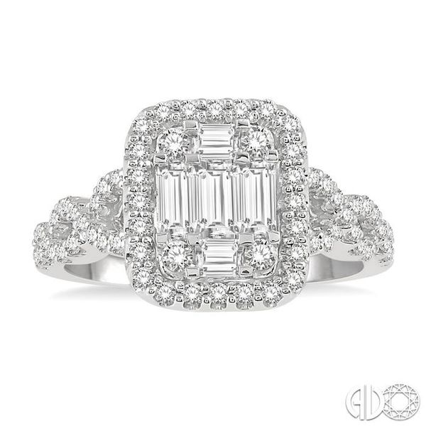 1/2 Ctw Baguette & Round Cut Fusion Diamond Ring in 14K White Gold Image 2 Becker's Jewelers Burlington, IA