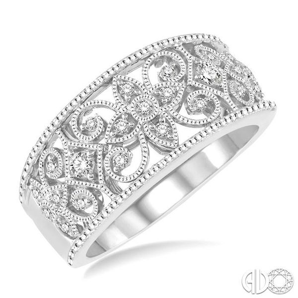 1/3 Ctw Floral Cutwork Round Cut Diamond Ladies Ring in 14K White Gold Becker's Jewelers Burlington, IA