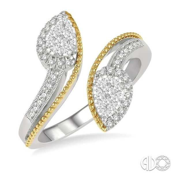1/3 ctw Pear Shape Open End Split Shank Lovebright Round Cut Diamond Ring in 14K White and Yellow Gold Becker's Jewelers Burlington, IA