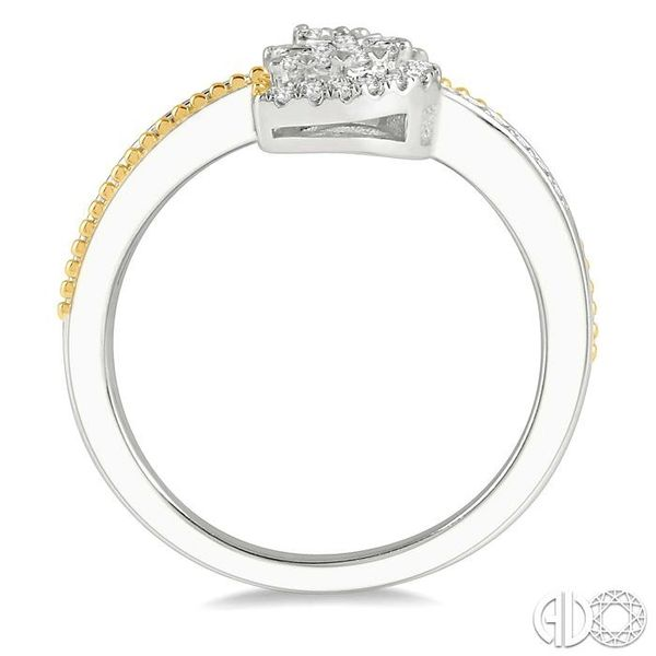 1/3 ctw Pear Shape Open End Split Shank Lovebright Round Cut Diamond Ring in 14K White and Yellow Gold Image 3 Becker's Jewelers Burlington, IA