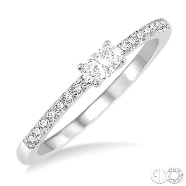 1/3 Ctw Oval Cut & Round Cut Diamond East West Ring in 14K White Gold Becker's Jewelers Burlington, IA