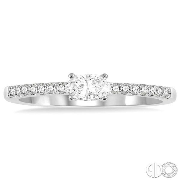 1/3 Ctw Oval Cut & Round Cut Diamond East West Ring in 14K White Gold Image 2 Becker's Jewelers Burlington, IA