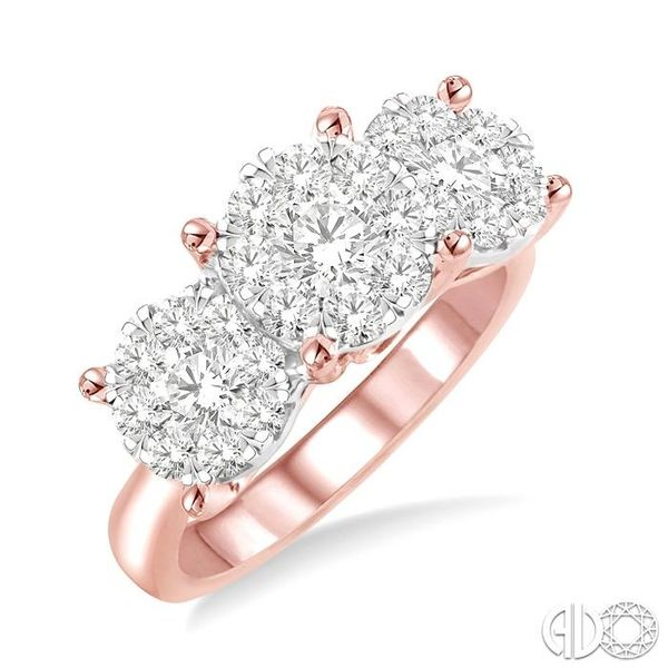 1 1/2 Ctw Lovebright Round Cut Diamond Ring in 14K Rose and White Gold Becker's Jewelers Burlington, IA