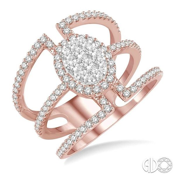 1 Ctw Oval Shape Mount Lovebright Round Cut Diamond Ring in 14K Rose and White Gold Becker's Jewelers Burlington, IA