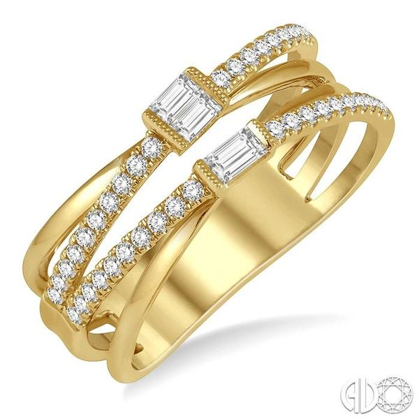 3/8 ctw Intercrossed Open Top Baguette and Round Cut Diamond Fashion Ring in 14K Yellow Gold Becker's Jewelers Burlington, IA