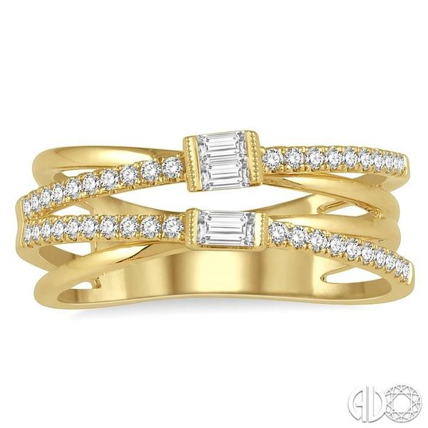 3/8 ctw Intercrossed Open Top Baguette and Round Cut Diamond Fashion Ring in 14K Yellow Gold Image 2 Becker's Jewelers Burlington, IA