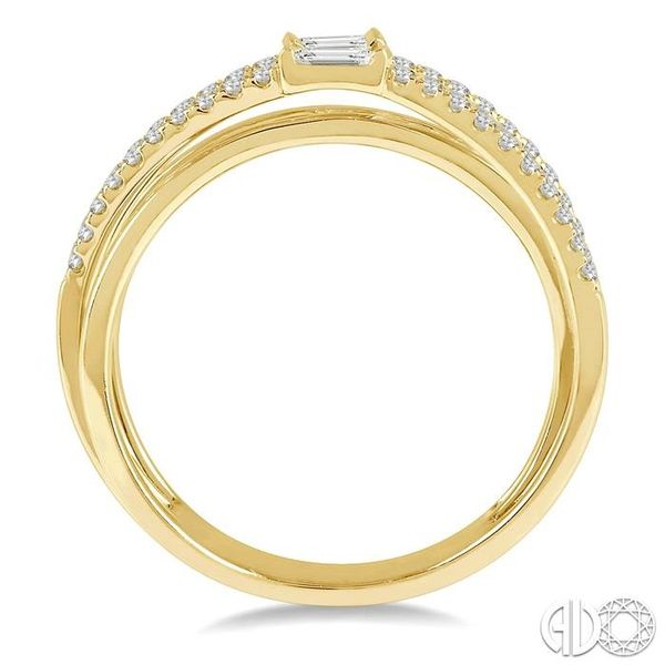 3/8 ctw Intercrossed Open Top Baguette and Round Cut Diamond Fashion Ring in 14K Yellow Gold Image 3 Becker's Jewelers Burlington, IA