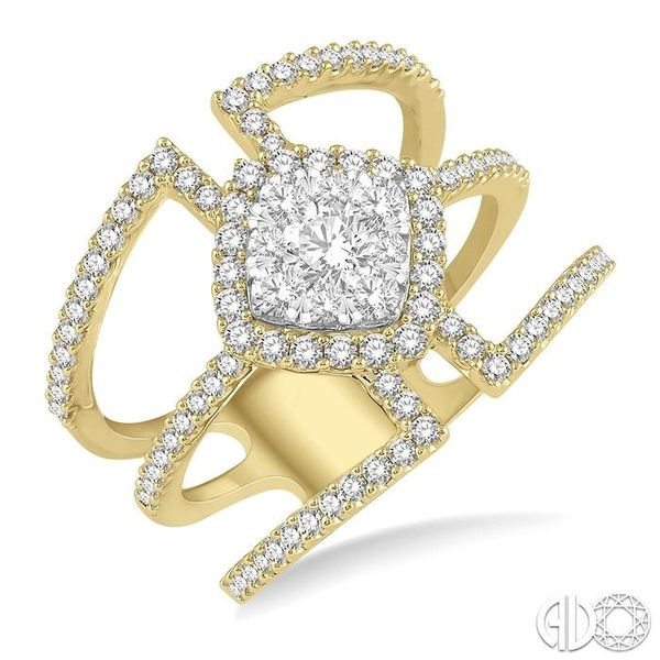 1 Ctw Cushion Shape Mount Lovebright Round Cut Diamond Ring in 14K Yellow and White Gold Becker's Jewelers Burlington, IA