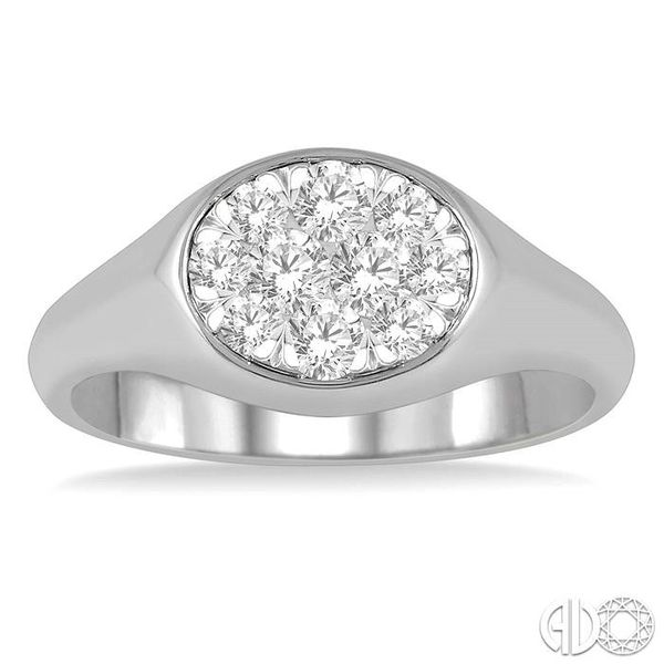 1/2 ctw Oval Shape Lovebright Diamond Ring in 14K White Gold Image 2 Becker's Jewelers Burlington, IA