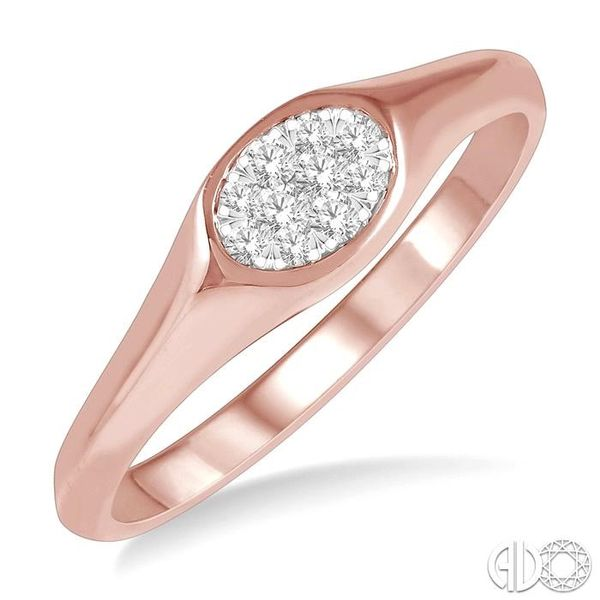 1/8 ctw Oval Shape Lovebright Diamond Ring in 14K Rose And White Gold Becker's Jewelers Burlington, IA