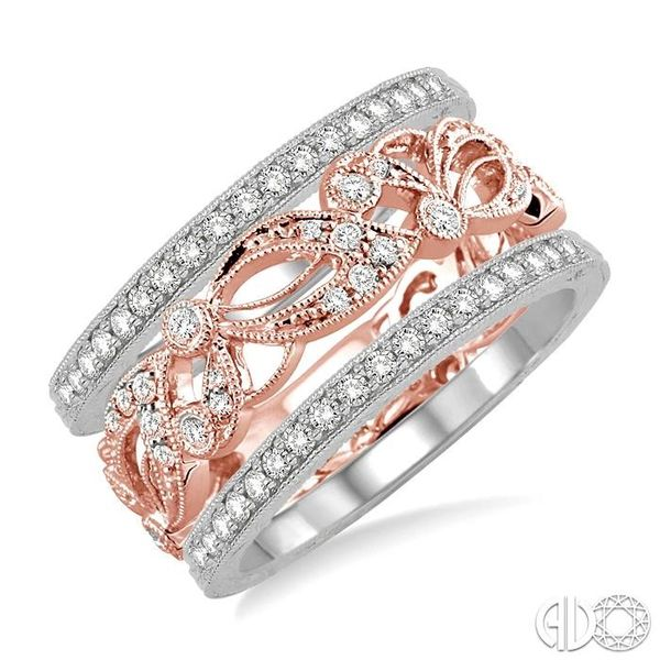 1/2 Ctw Round Cut Diamond Triple Band Set in 14K White and Rose Gold Becker's Jewelers Burlington, IA