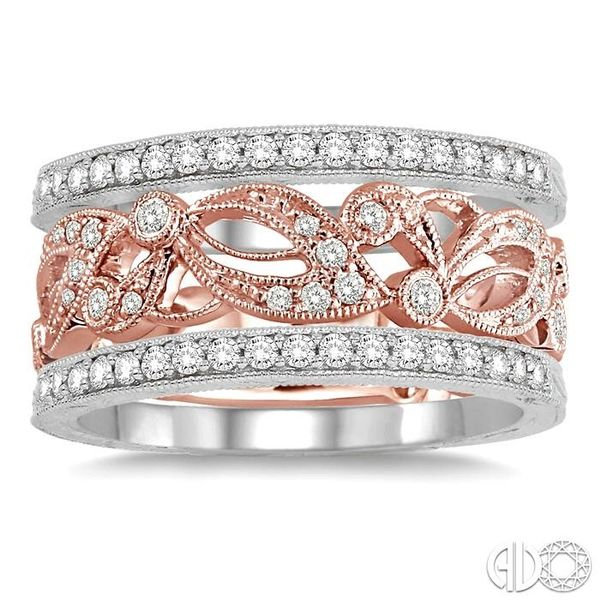 1/2 Ctw Round Cut Diamond Triple Band Set in 14K White and Rose Gold Image 2 Becker's Jewelers Burlington, IA