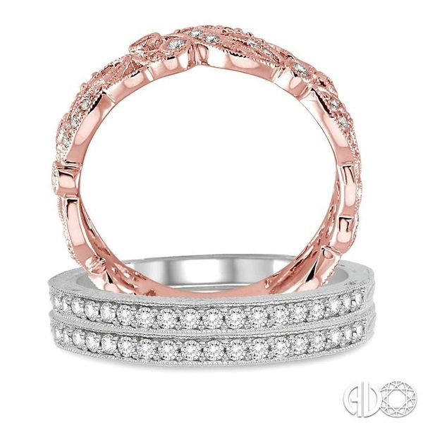 1/2 Ctw Round Cut Diamond Triple Band Set in 14K White and Rose Gold Image 3 Becker's Jewelers Burlington, IA