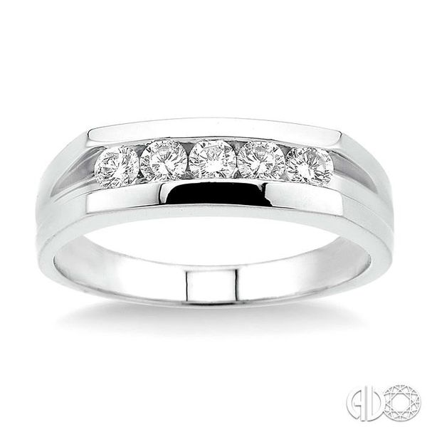 1/2 Ctw Round Cut Men's Diamond Ring in 14K White Gold Image 2 Becker's Jewelers Burlington, IA