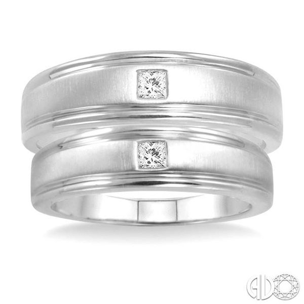 1/6 Ctw Princess Cut Diamond Duos Ring Set in 14K White Gold Image 2 Becker's Jewelers Burlington, IA