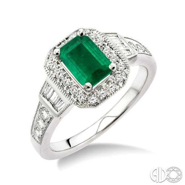 6x4 MM Octagon Cut Emerald and 1/4 Ctw Round and Baguette Cut Diamond Ring in 14K White Gold Becker's Jewelers Burlington, IA