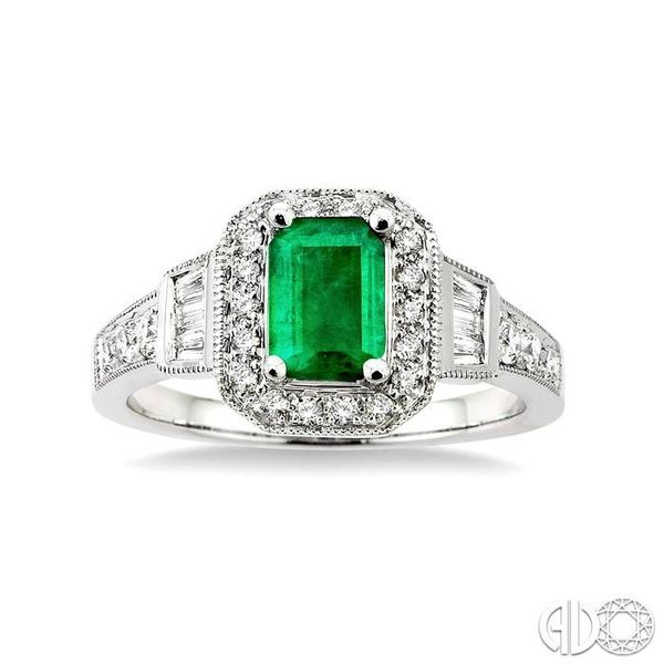 6x4 MM Octagon Cut Emerald and 1/4 Ctw Round and Baguette Cut Diamond Ring in 14K White Gold Image 2 Becker's Jewelers Burlington, IA