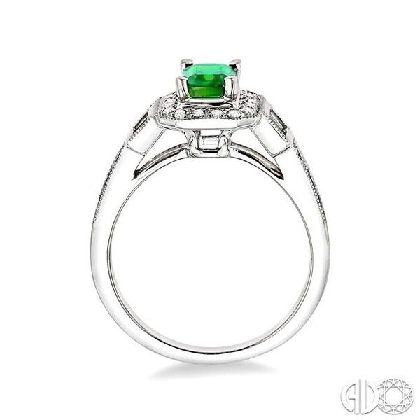 6x4 MM Octagon Cut Emerald and 1/4 Ctw Round and Baguette Cut Diamond Ring in 14K White Gold Image 3 Becker's Jewelers Burlington, IA