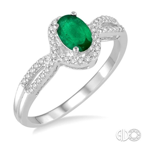 6x4 MM Oval Cut Emerald and 1/6 Ctw Round Cut Diamond Ring in 10K White Gold Becker's Jewelers Burlington, IA