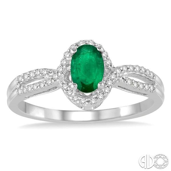 6x4 MM Oval Cut Emerald and 1/6 Ctw Round Cut Diamond Ring in 10K White Gold Image 2 Becker's Jewelers Burlington, IA