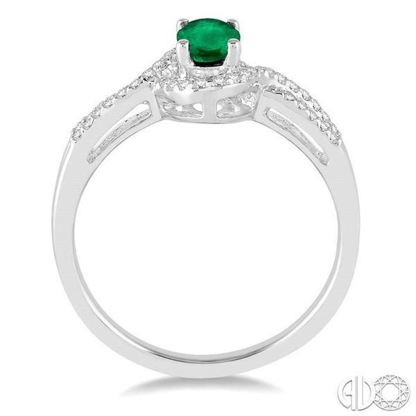 6x4 MM Oval Cut Emerald and 1/6 Ctw Round Cut Diamond Ring in 10K White Gold Image 3 Becker's Jewelers Burlington, IA