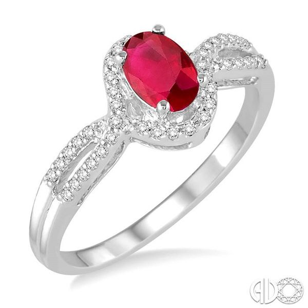 6x4 MM Oval Cut Ruby and 1/6 Ctw Round Cut Diamond Ring in 10K White Gold Becker's Jewelers Burlington, IA