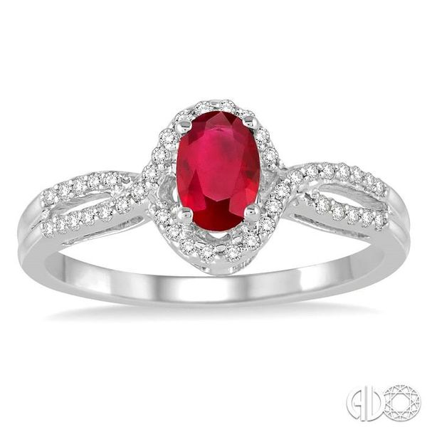 6x4 MM Oval Cut Ruby and 1/6 Ctw Round Cut Diamond Ring in 10K White Gold Image 2 Becker's Jewelers Burlington, IA