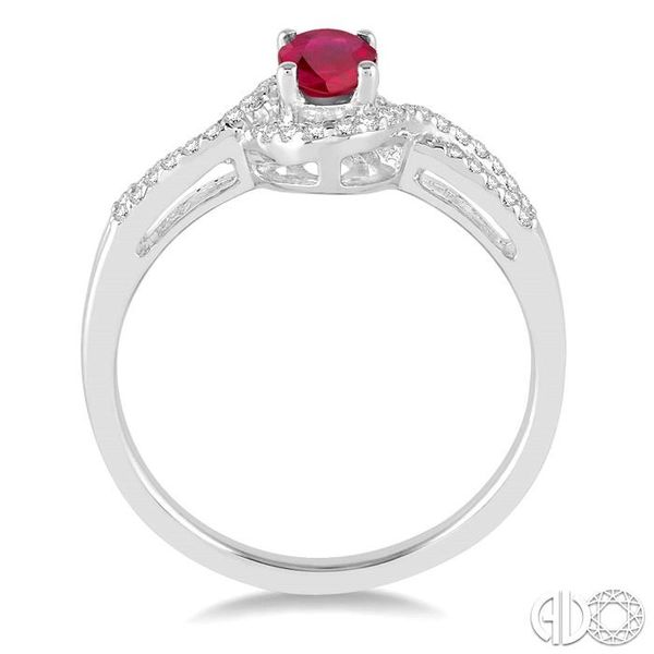 6x4 MM Oval Cut Ruby and 1/6 Ctw Round Cut Diamond Ring in 10K White Gold Image 3 Becker's Jewelers Burlington, IA