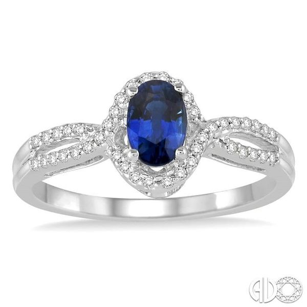 6x4 MM Oval Cut Sapphire and 1/6 Ctw Round Cut Diamond Ring in 10K White Gold Image 2 Becker's Jewelers Burlington, IA