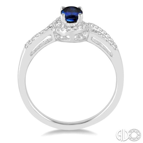 6x4 MM Oval Cut Sapphire and 1/6 Ctw Round Cut Diamond Ring in 10K White Gold Image 3 Becker's Jewelers Burlington, IA