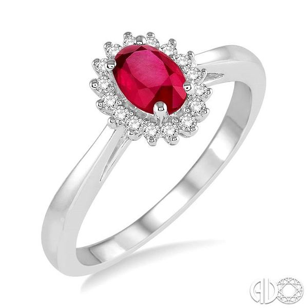 6X4MM Oval Cut Ruby Center and 1/8 Ctw Round Cut Diamond Halo Precious Stone Ring in 10K White Gold Becker's Jewelers Burlington, IA