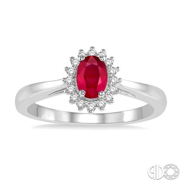 6X4MM Oval Cut Ruby Center and 1/8 Ctw Round Cut Diamond Halo Precious Stone Ring in 10K White Gold Image 2 Becker's Jewelers Burlington, IA