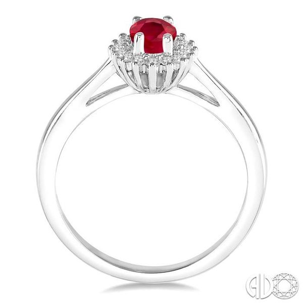 6X4MM Oval Cut Ruby Center and 1/8 Ctw Round Cut Diamond Halo Precious Stone Ring in 10K White Gold Image 3 Becker's Jewelers Burlington, IA